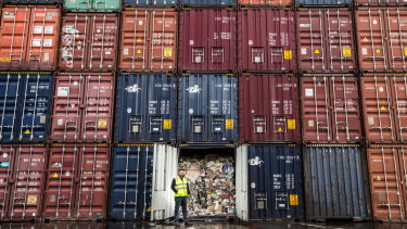 Shipping containers of waste left over from SKM's operations.