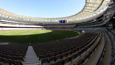 An empty Optus Stadium awaiting the derby between the Eagles and Dockers.