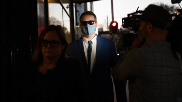 Andrew Bruce leaves court on Thursday.