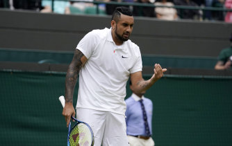 Nick Kyrgios before retiring in his third-round Wimbledon match.