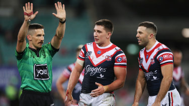 Frustrated Roosters captain James Tedesco reacts as Victor Radley is sent to the sin bin for a high tackle.