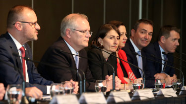 NSW Premier Gladys Berejiklian with Prime Minister Scott Morrison and other state and territory leaders at COAG earlier this week.