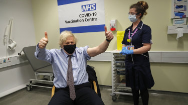 British Prime Minister Boris Johnson after receiving his first dose of AstraZeneca in March.
