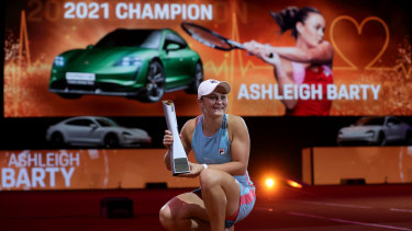 Ashleigh Barty celebrates victory in Stuttgart during her stunning run of form on clay.