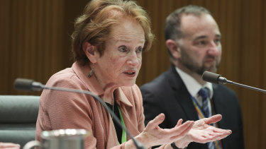 Inspector-General of Intelligence and Security Margaret Stone during a Senate estimates hearing at Parliament House in Canberra, 2019.