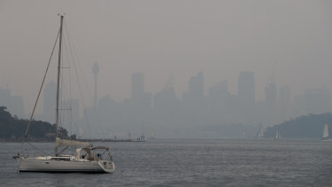 Bushfire smoke haze blanketed Sydney again on Sunday.