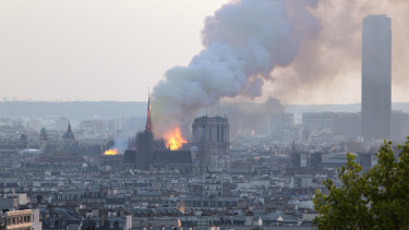 Notre-Dame in flames.