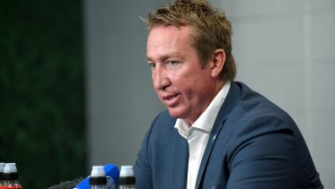 Play on: Trent Robinson wants to see attacking sides given the benefit of the doubt when line-ball passes are thrown.
