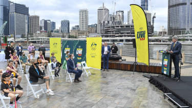 Queensland Minister for Sport Stirling Hinchcliffe speaks during the Australian Olympic Committee announcement.