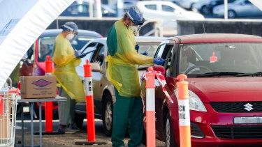 Drive-through coronavirus testing at Bondi Beach.