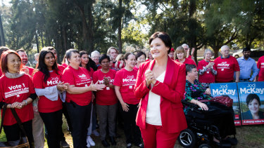 Jodi McKay announces her bid to lead the NSW Labor Party, surrounded by her supporters in her electorate at Homebush West.