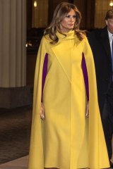 Schlafly's cardigans are echoed through Melania Trump's similarly draped coats.