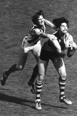 Tiger David Cloke takes a mark during the 1980 Grand Final.
