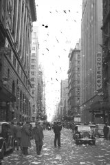 """Within a few minutes the air was filled with fluttering paper falling on Martin Place, Castlereagh and Pitt Streets."""