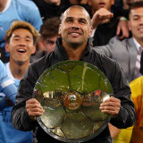 Patrick Kisnorbo before he injured his head during City's A-League Premiers Plate victory celebrations.