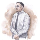 A sketch of Bradley Edwards, drawn during his sentencing on December 23, 2020.