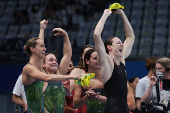 Emma McKeon (left), Chelsea Hodges, Kaylee McKeown and Cate Campbell celebrate after winning the 4x100m medley relay final on Sunday.