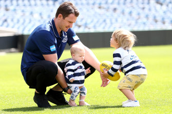 Patrick Dangerfield with his children on Friday.