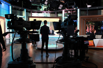 The Sunrise set at Channel 7's Martin Place studio.