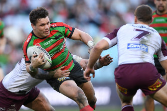 James Roberts on the fly against Manly.