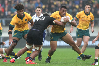 Allan Alaalatoa charges into the All Blacks defence in the first Bledisloe Test.