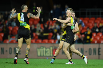 Jack Riewoldt celebrates a goal for the Tigers in their win over Geelong on Friday night.