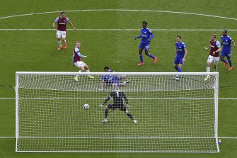 West Ham's Jarrod Bowen scores his side's third goal against Leicester City at the London Stadium.