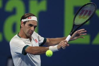 Roger Federer in action in Doha last week.
