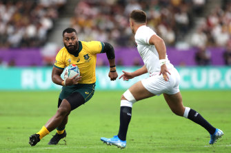 Samu Kerevi in his last game for the Wallabies in the 2019 Rugby World Cup.
