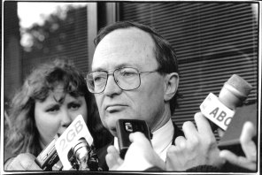 John Mant, acting commissioner of ICAC during doorstop at Redfern, May 11, 1994.