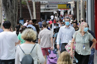 Most people in Brisbane have complied with the requirement to wear masks.