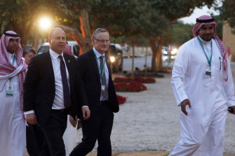 Treasurer Josh Frydenberg and Reserve Bank governor Philip Lowe after the first meeting of G20 finance ministers and central bank governors in Riyadh last month. The economic impact of the coronavirus grew quickly after this meeting.