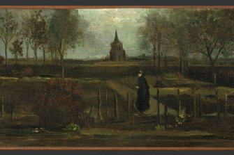 Vincent van Gogh's painting The Parsonage Garden at Nuenen in Spring (detail).