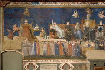Hisham Matar was mesmerised by Ambrogio Lorenzetti's Allegory of Good Government (detail).