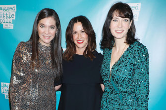 Diane Paulus, Alanis Morissette and Diablo Cody at the Jagged Little Pill Broadway premiere in 2019.