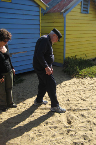 """Ronald """"Dixie"""" Lee shows Eve Ash the spot behind the bathing sheds at Brighton where Eve was conceived."""