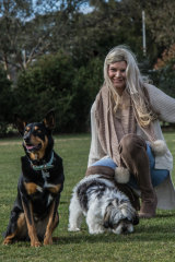 Thomson with her dogs Nim and Augie.