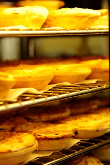 Pies ready at the Braidwood Bakery
