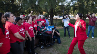 Jodi McKay announces her bid for the NSW Labor Party leadership in Homebush West on Friday.