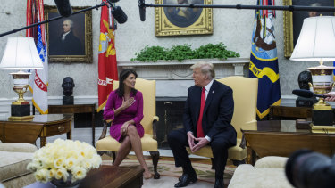Nikki Haley, US ambassador to the United Nations, and US President Donald Trump at the White House on Tuesday.