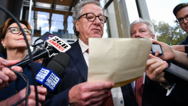 Geoffrey Rush responds to the Federal Court judgment in April.