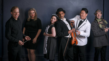 Peter Tregear (far left) with the cast of Jonny Strikes Up, left to right: Lee Abrahmsen, Rebecca Rashleigh, Shoumendu Schornikow, Raphael Wong, Fraser Findlay Erickson.