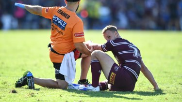 Desolate: Daly Cherry-Evans' Origin captaincy hopes may be in tatters after an injury during Manly's win over Cronulla.