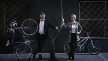 Lord mayor Sally Capp and transport portfolio chair Nic Frances-Gilley launching the council's cycling strategy.