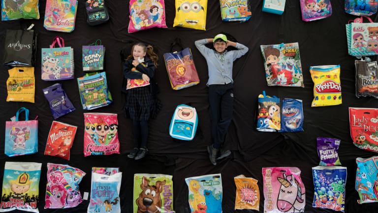 Students from St Mary Margaret's Primary School in Spotswood test out this year's showbags