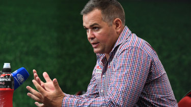 Facing the music: Broncos coach Anthony Seibold fronts the media after Thursday night's loss to the Tigers.