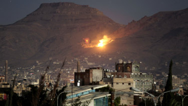 A Saudi-led airstrike hits a site believed to be a large weapons depot on the outskirts of Yemen's capital Sanaa in 2016.