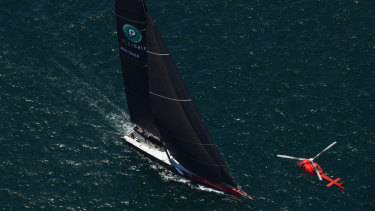 Jostling: Comanche had re-taken the lead in a hotly contested Sydney to Hobart on Thursday morning.