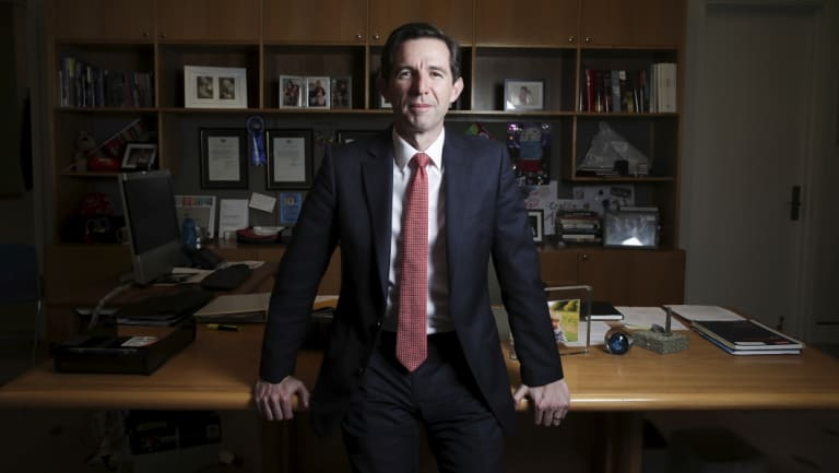 Trade Minister Simon Birmingham in his Parliament House office.