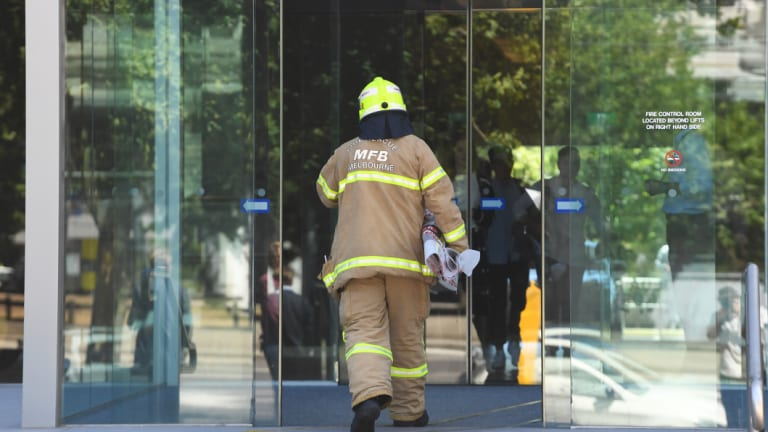 Another firefighter at the South Korean consulate.